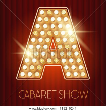 Vector shiny gold lamp alphabet in cabaret show style. Letter A