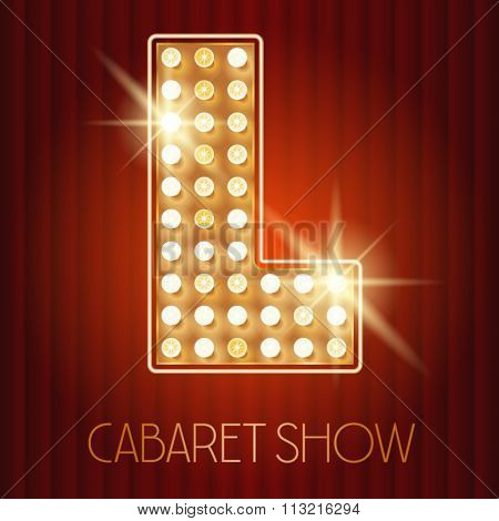Vector shiny gold lamp alphabet in cabaret show style. Letter L