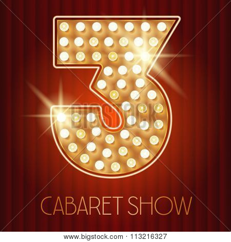 Vector shiny gold lamp alphabet in cabaret show style. Number 3
