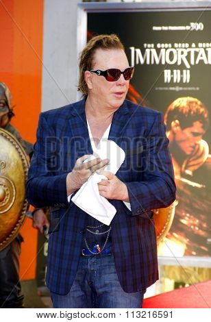LOS ANGELES, USA - Mickey Rourke at the Mickey Rourke Hand And Footprint Ceremony held at Grauman's Chinese Theater in Hollywood, USA on October 31, 2011.