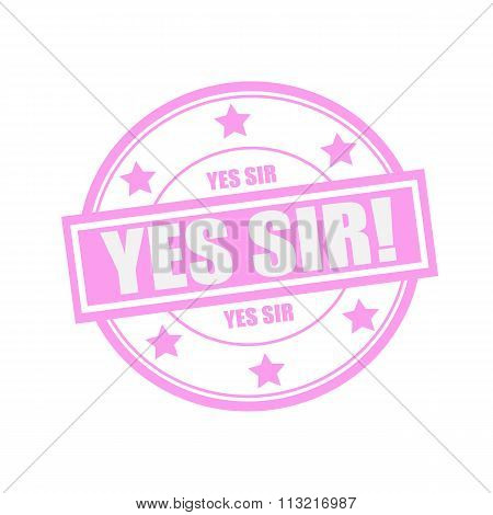 Yes Sir White Stamp Text On Circle On Pink Background And Star
