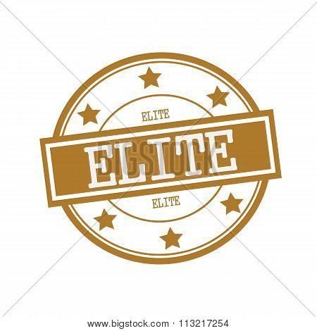 Elite White Stamp Text On Circle On Brown Background And Star
