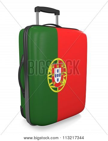 Portugal vacation destination concept of a flag painted travel suitcase