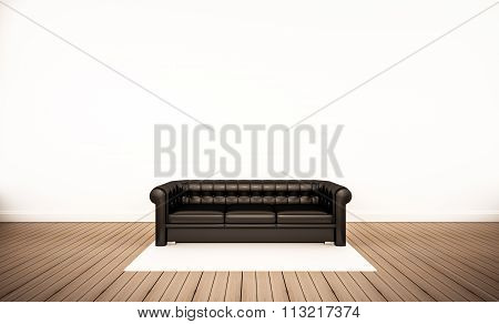Oak wood floor and white wall, with black leather sofa, 3d rendered