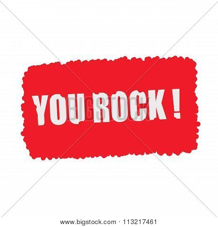 You Rock White Stamp Text On Blood Drops Red Background