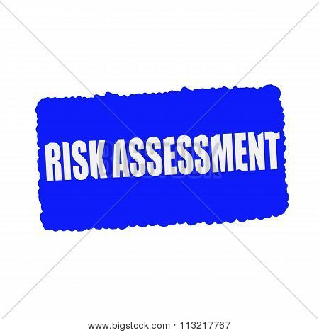 Risk Assessment White Stamp Text On Blood Drops Blue Background