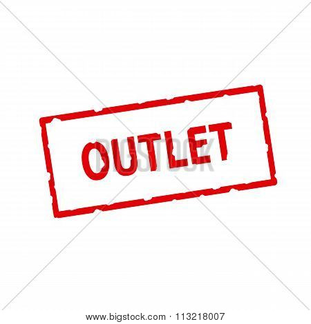 Outlet Red Stamp Text On Rectangular White Background