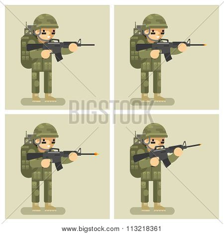 Soldier flat design animation shot weapon