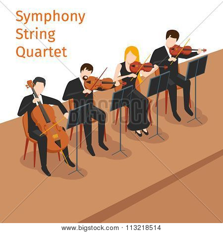 Symphonic orchestra string quartet vector background concept