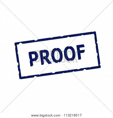 Proof Blue Stamp Text On Rectangular White Background