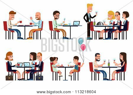 People eating and talking in restaurant or coffee shop. Flat style vector icons set