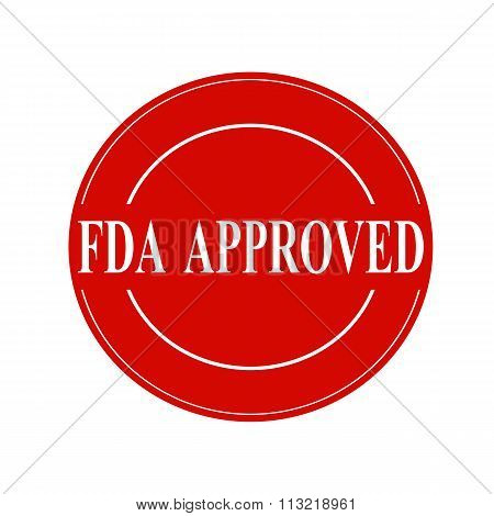 Fda Approved White Stamp Text On Circle On Red Background