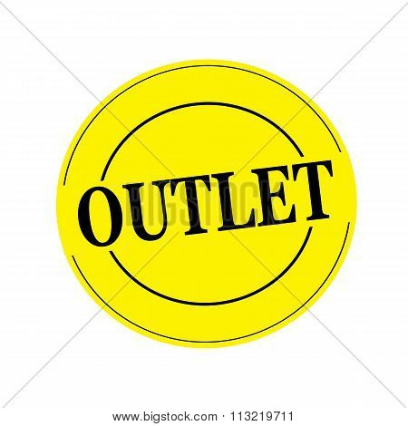 Outlet Black Stamp Text On Circle On Yellow Background