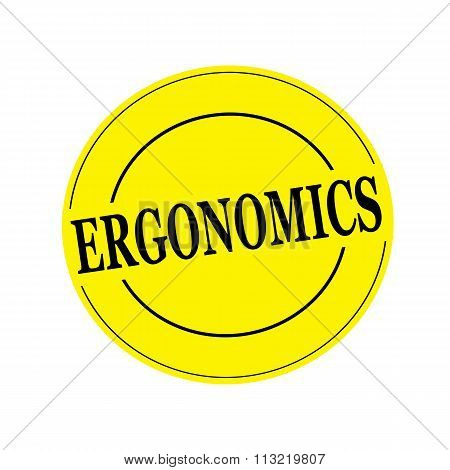 Ergonomics Stamp Text On Circle On Yellow Background