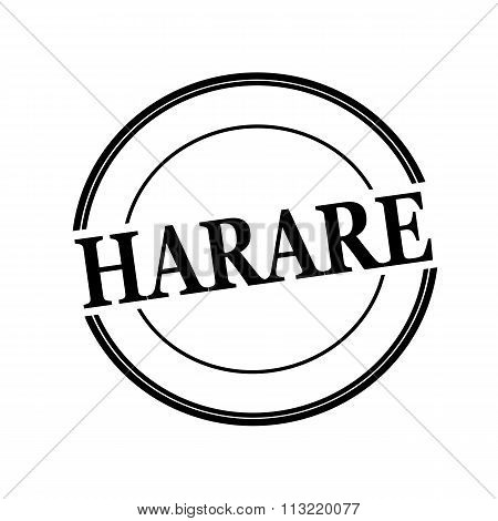 Harare Black Stamp Text On Circle On White Background