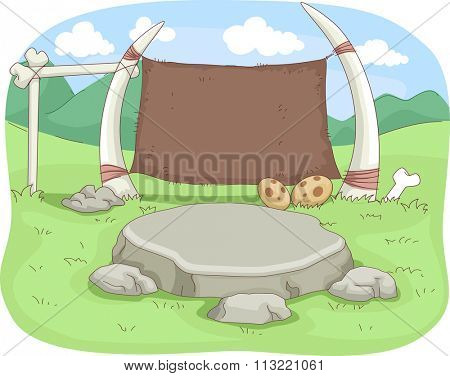 Illustration of a Stone Aged Classroom Decorated with Fossils