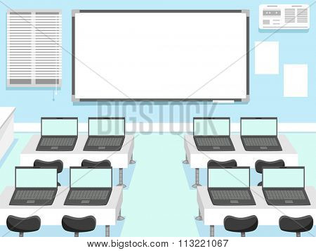 Illustration of a Computer Laboratory with Laptops Assigned to Each Seat