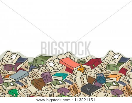 Border Illustration of Piles of Books Scattered About