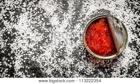 Red Caviar In Metal Tin With Salt.  Free Space For Text .