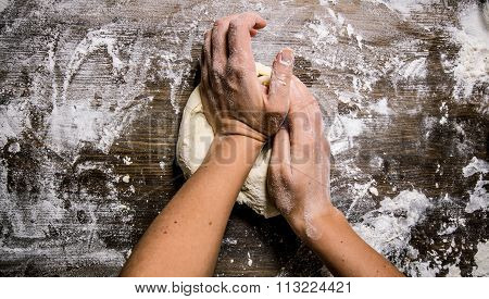 Preparation Of The Dough. Preparation Of The Dough The Women's Hands.