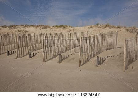 Sand fences help protect the dunes in the Outer Banks of North Carolina