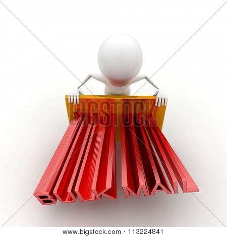 3D Man Presenting A Mail- Letter - Bulk Mail Text Projecting Concept