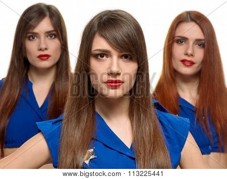 group of three beauty women. triplets sisters