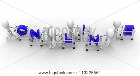 3D Group Of Men Holding Trolly And Online Text Presentation Concept