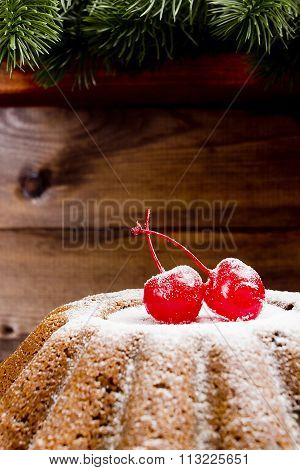 Classic Fruitcake For Christmas With Cherries