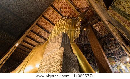 The Golden Giant Reclining Buddha (Sleep Buddha) in Wat Pho Buddhist Temple, Bangkok, Thailand