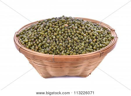 Green Beans On Wood Background