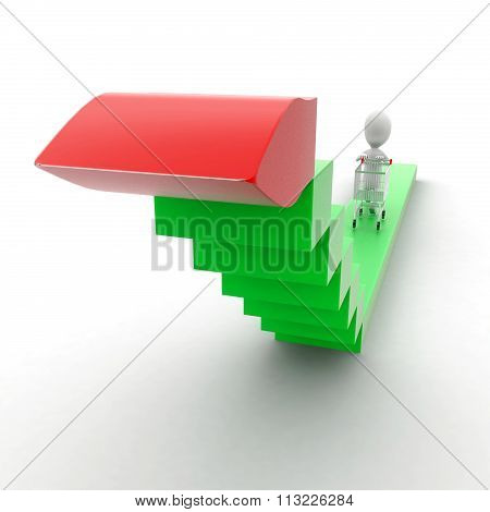 3D Man Moving Trolley On High Static Srrow Concept