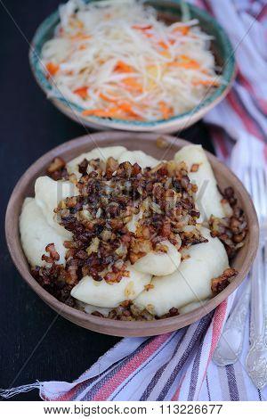 vareniki with bacon