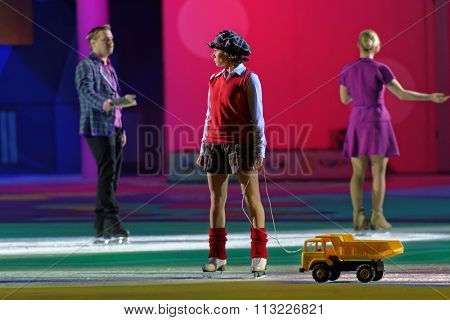 ST. PETERSBURG, RUSSIA - DECEMBER 29, 2015: Figure skater Maria Petrova as Lillebror in a scene of the New Year show Little Brother and Karlsson-on-the-Roof of Ilya Averbukh in the SC Yubileyniy