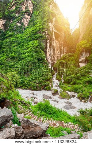 Beautiful landscape with mountain river and rocks in Nepal,  Annapurna trekking