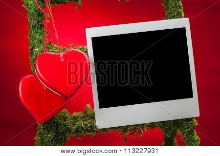 Blank Photo Frame On Red Background