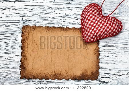 Colorful  Red Heart On Vintage Paper