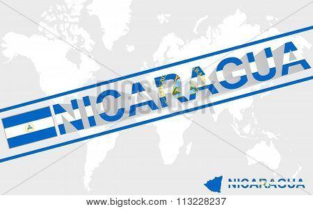 Nicaragua Map Flag And Text Illustration