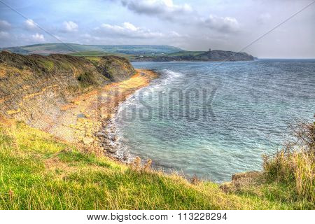 Kimmeridge Bay east of Lulworth Cove on the Dorset coast England uk in colourful HDR to Cavell tower
