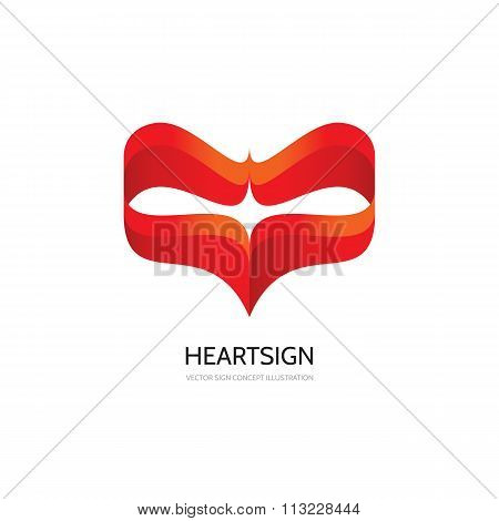 Red heart - vector logo concept illustration. Heart sign. Valentine's Day concept sign.