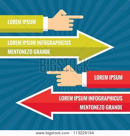 Human hands with red and green arrows - infographic business concept - vector concept illustration.