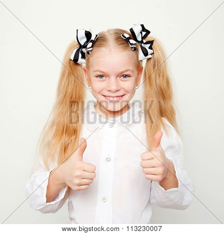 Pupil School Child Showing Thumbs Up