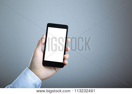 Hand With Blank Smart Phone