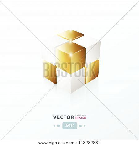 3D Cube Golden