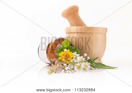 Health Care Fresh Herbal And Fower, Bottle Of Aromatherapy In Isolated On White Background.
