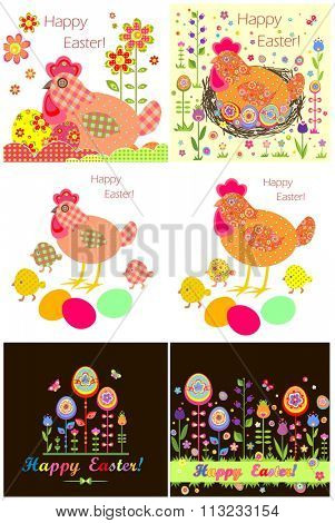 Easter applique with hen, eggs and chicken