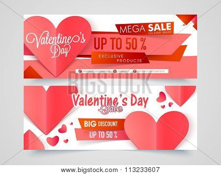Creative website header or banner set of Mega Sale with 50% Discount Offer for Happy Valentine's Day celebration.