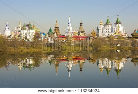 Moscow Izmaylovskiy Kremlin in region Izmaylovo famous tourist landmark vernisage of art and crafts with original wooden architecture.