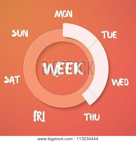 Week Loading Vector Illustration. Vector Weekend Countdown Backg