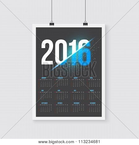 Happy New Year 2016 Vector Calendar. Happy 2016 Vector Poster Ca